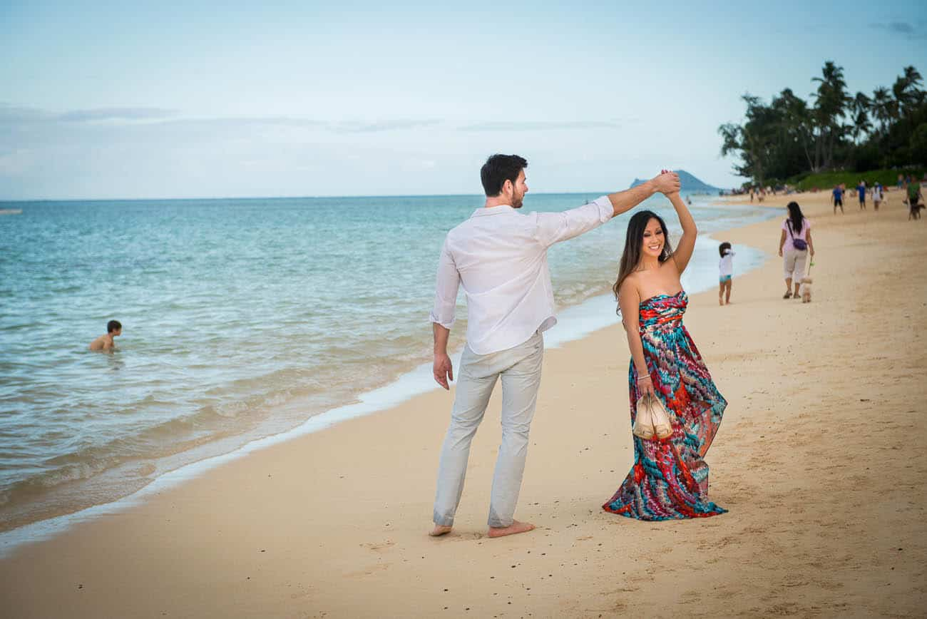 Kailua Hawaii Engagement Dancing on the beach