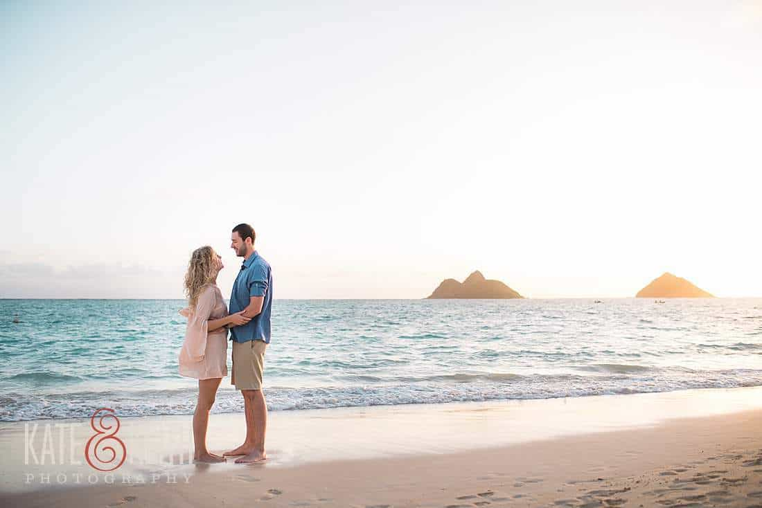 Sunrise engagment session Lanikai Beach Mokes
