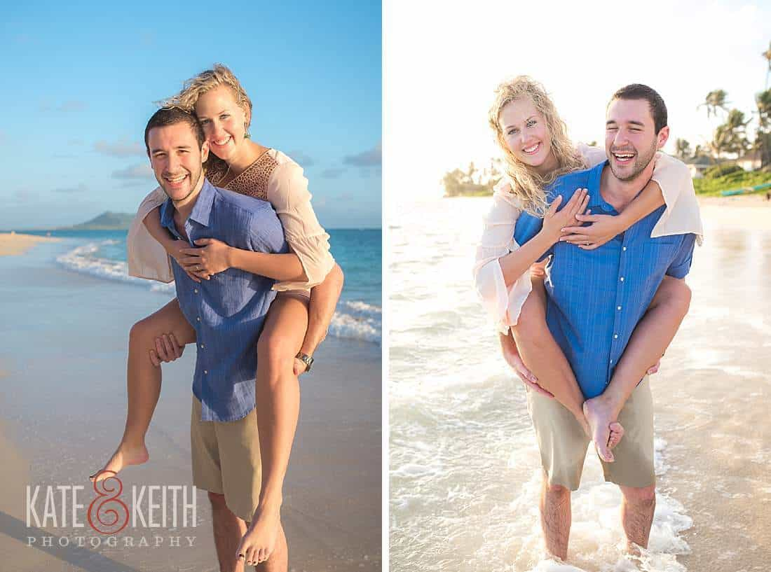 Happy Couple engagement Hawaii Beach Kailua