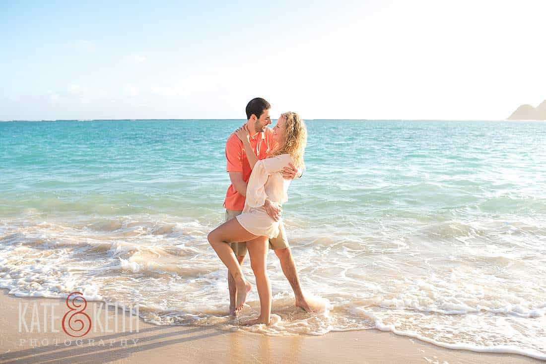 Kailua Lanikai Beach Mokes Sunrise Engagement Photos