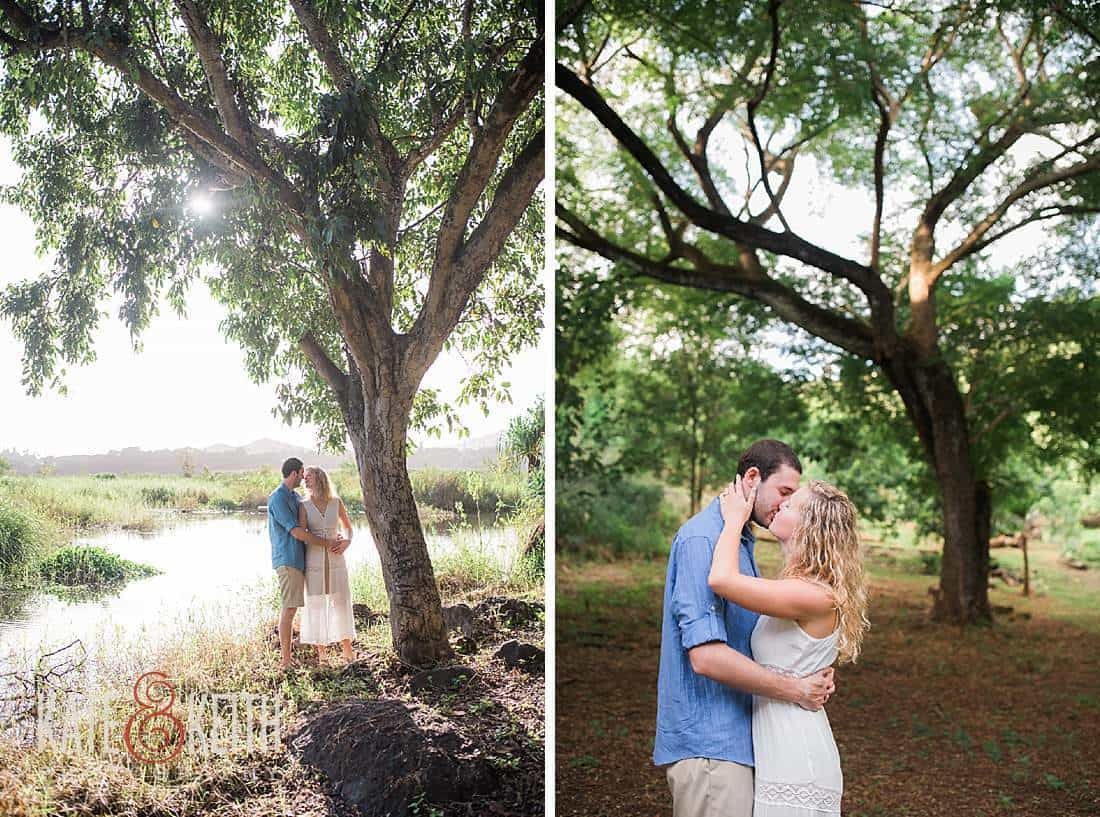 Kailua Engagement Photos kissing forest