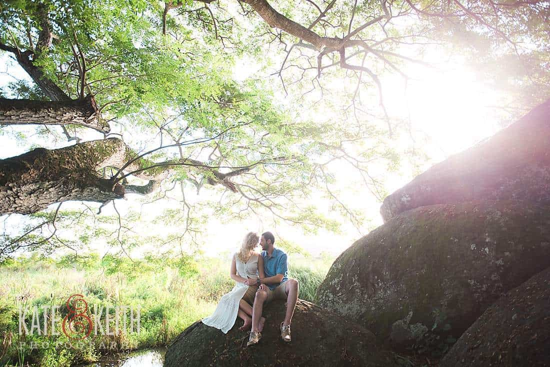 Kailua Engagement Photos rocks forest