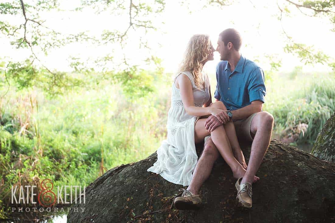 Kailua Engagement Photos rocks forest backlight hawaii