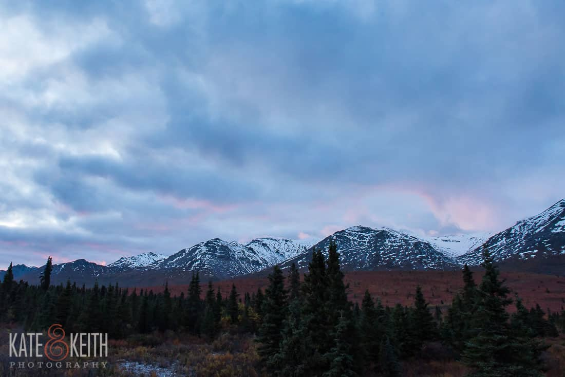 Sunset Denali Alaska cloudy pink blue