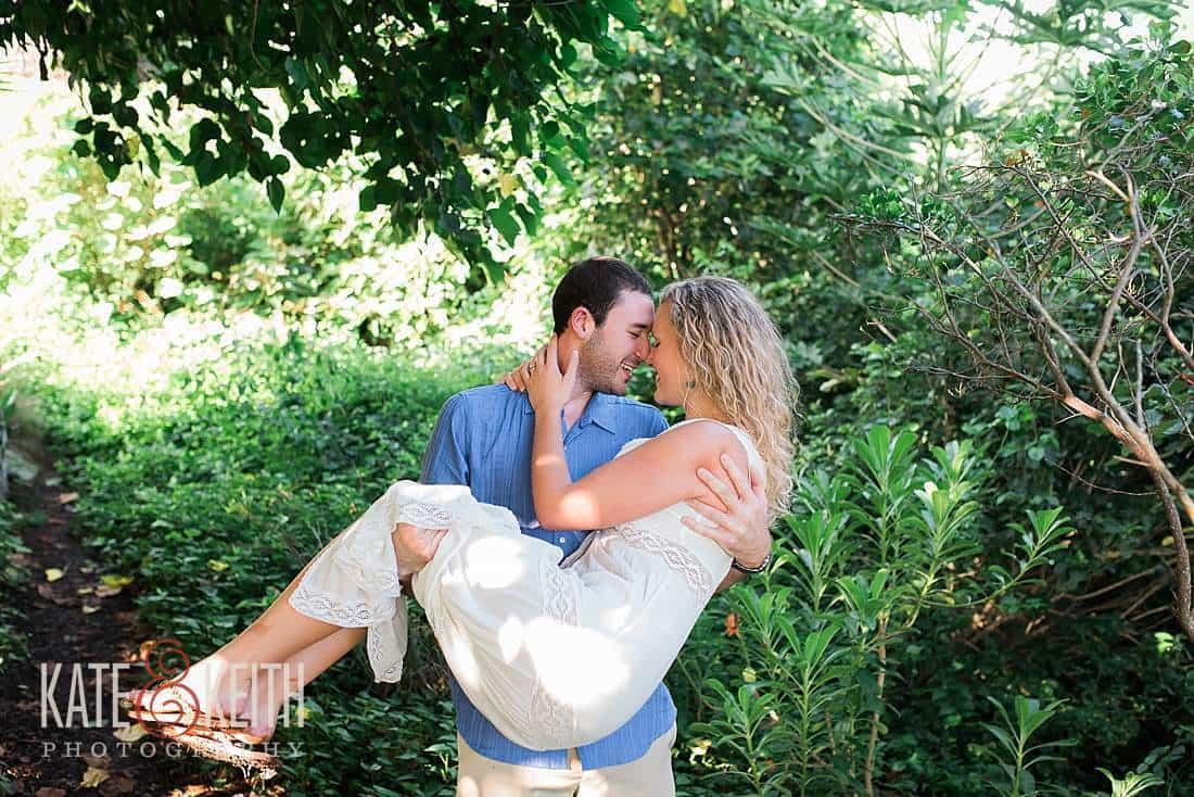 Kailua Engagement groom carying bride photo