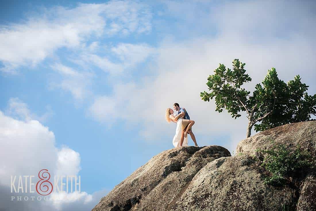 Kailua Engagement groom dips bride mountain