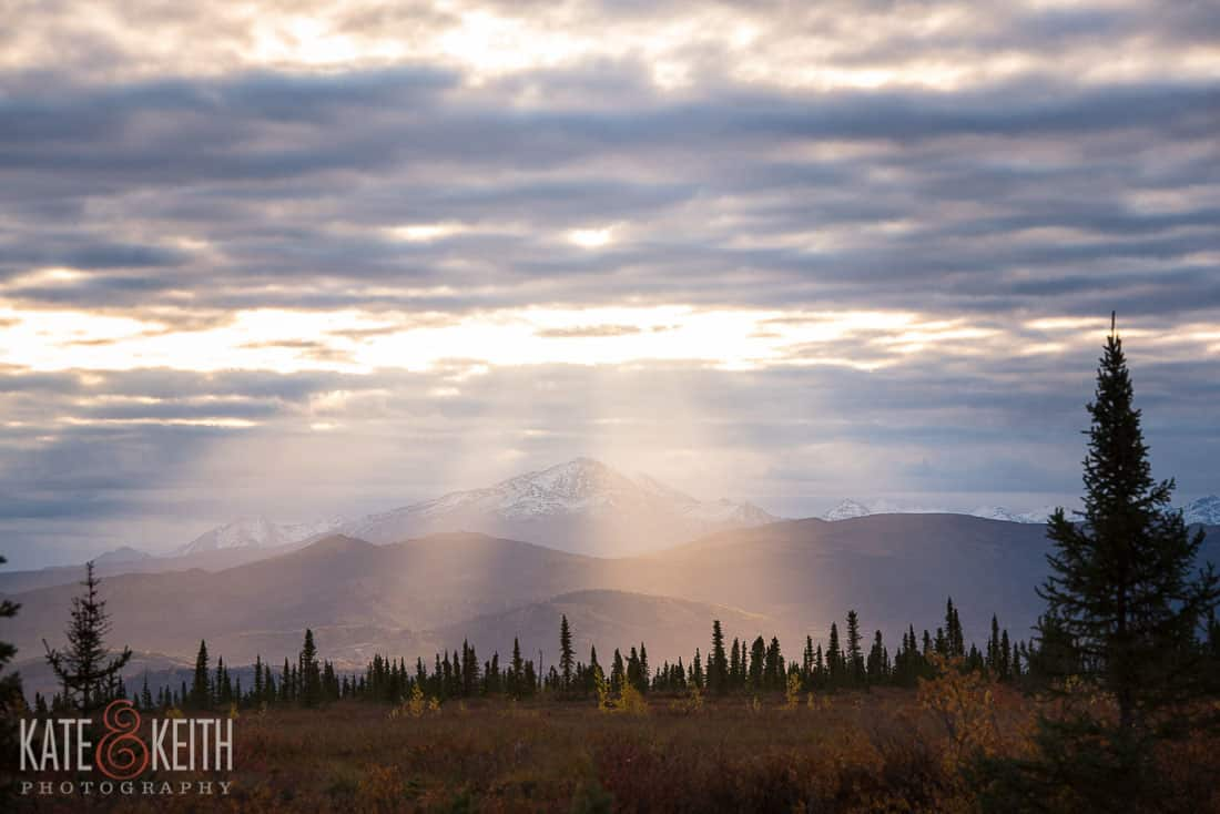 Dora Peak Alaska Healy Sunrise god beams mountain Crepuscular rays