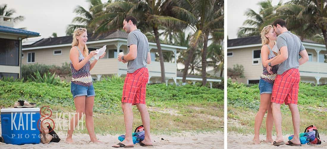 Beach Proposal Photography Oahu military couple engagement