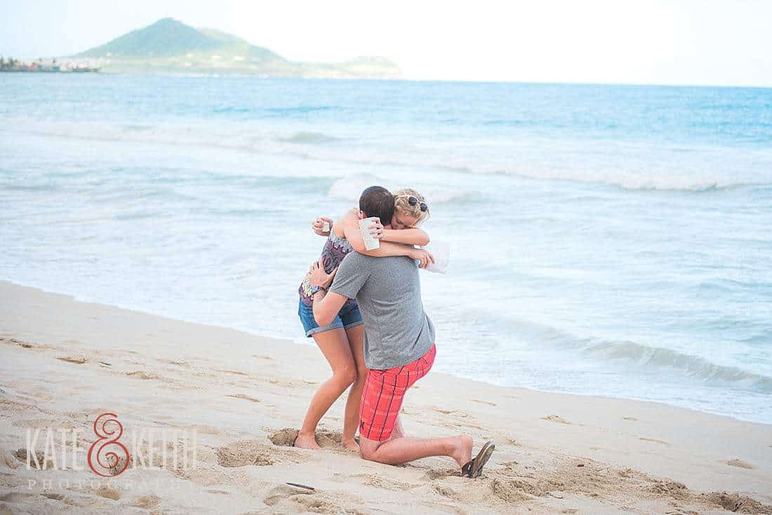surprise beach proposal photography Kailua oahu popped question