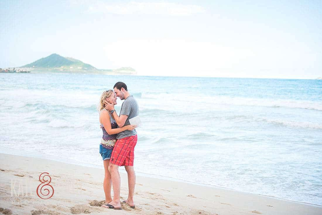 surprise beach proposal photography military couple