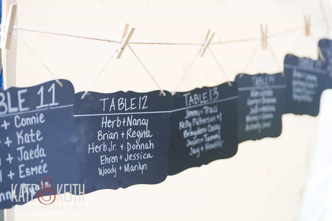 Table assignments tent wedding