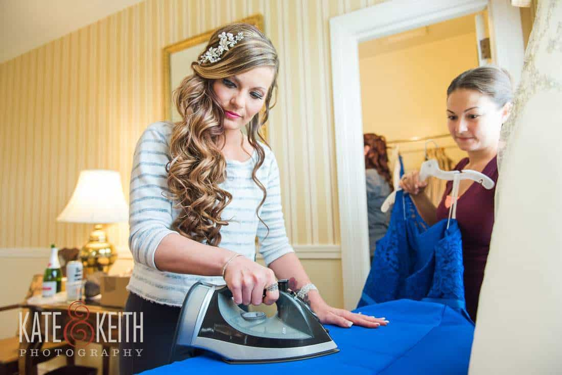 Bride ironing Dress