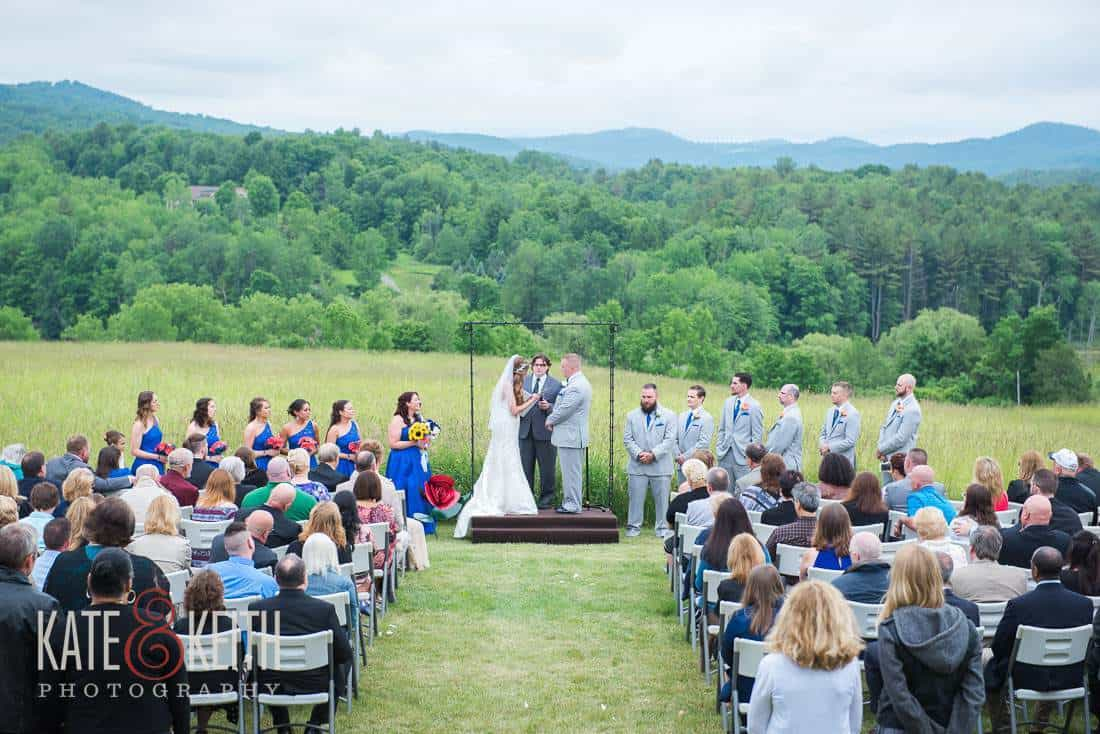 Outdoor wedding alpaca farm ceremony