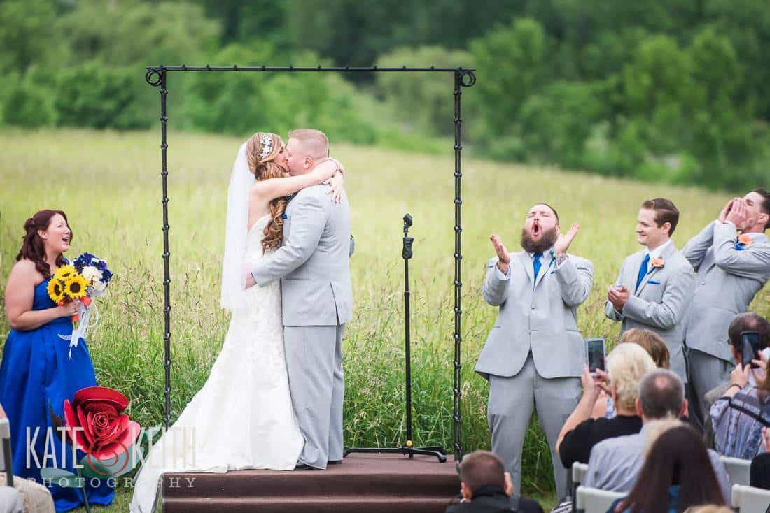 First kiss at alpaca farm wedding