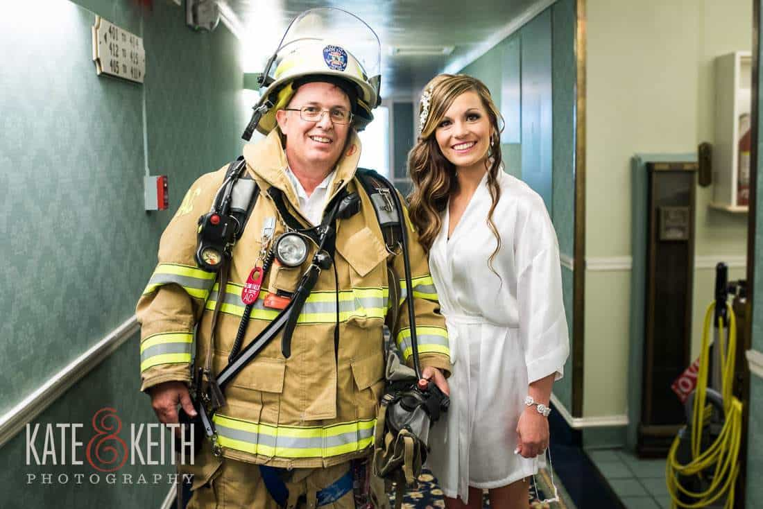 Bride with fireman