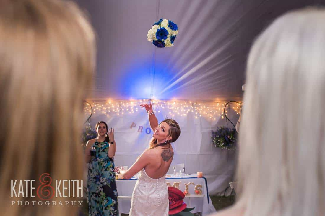 bouquet toss tent wedding