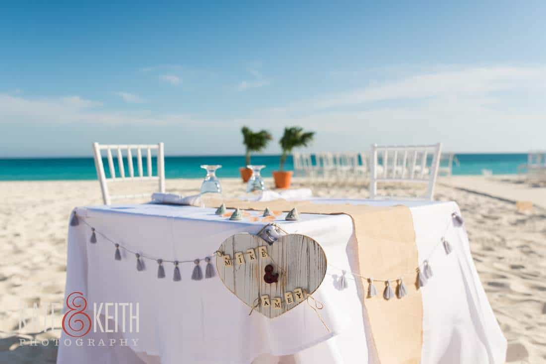 Caribbean beach wedding sweetheart