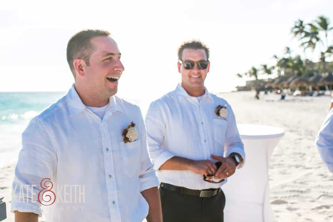 Groom Aruba beach wedding ceremony