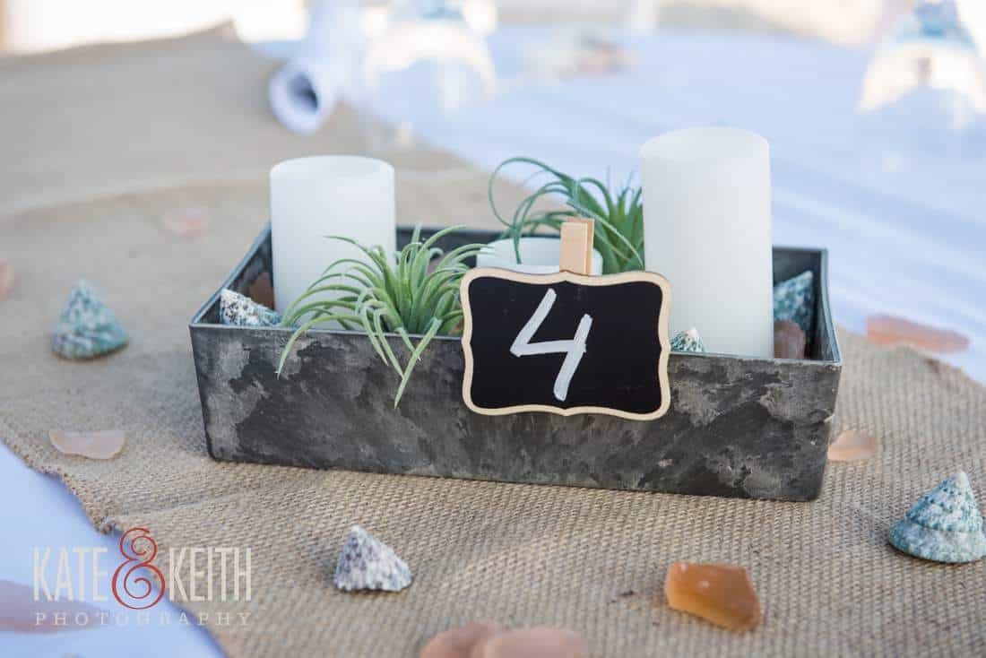 Caribbean beach wedding table details