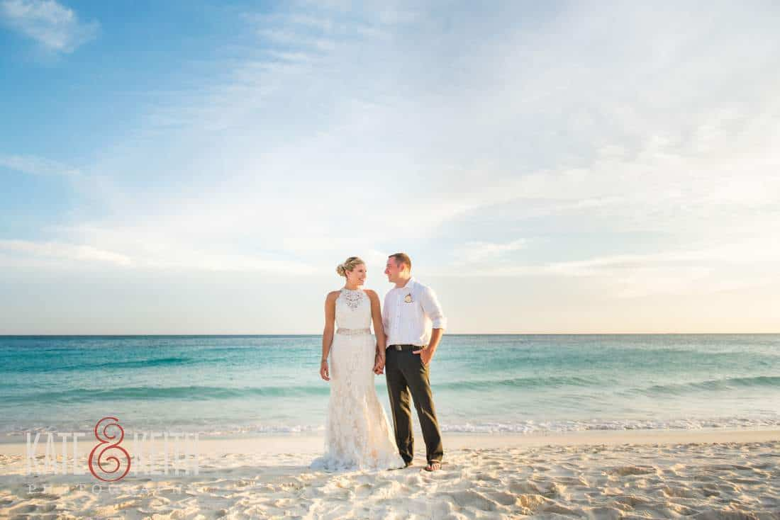 Caribbean Wedding Bride and Groom Aruba Ocean