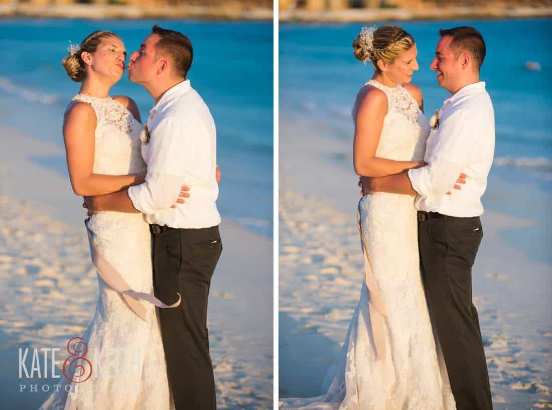 Caribbean Wedding Bride and Groom Aruba Ocean Kiss