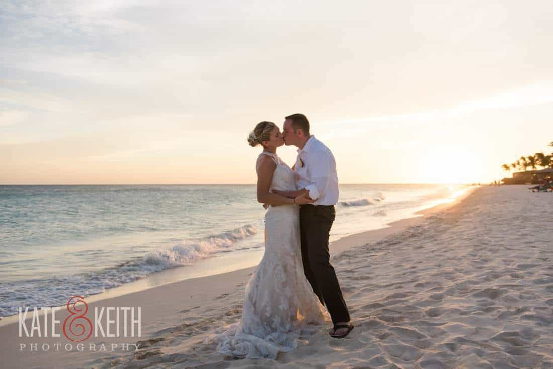 Caribbean Wedding Sunset Kiss