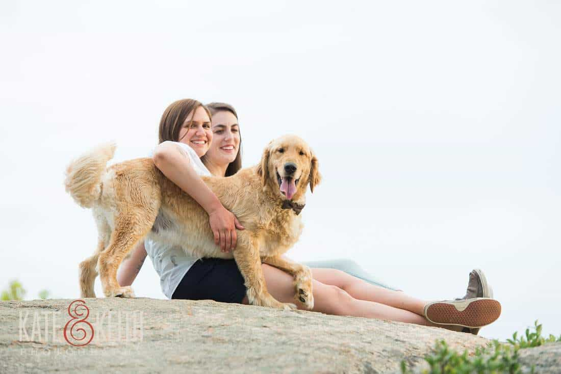 dog friendly natural Same Sex engagement portrait NH