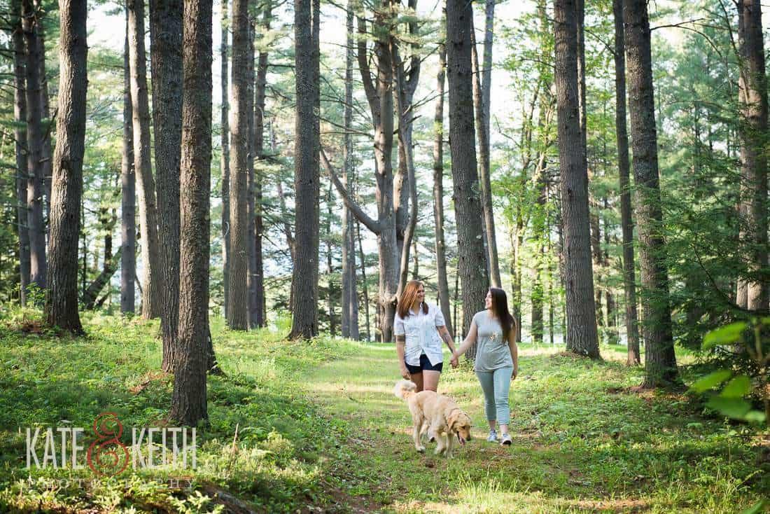 Dog Friendly NH Lesbian Engagement Photos