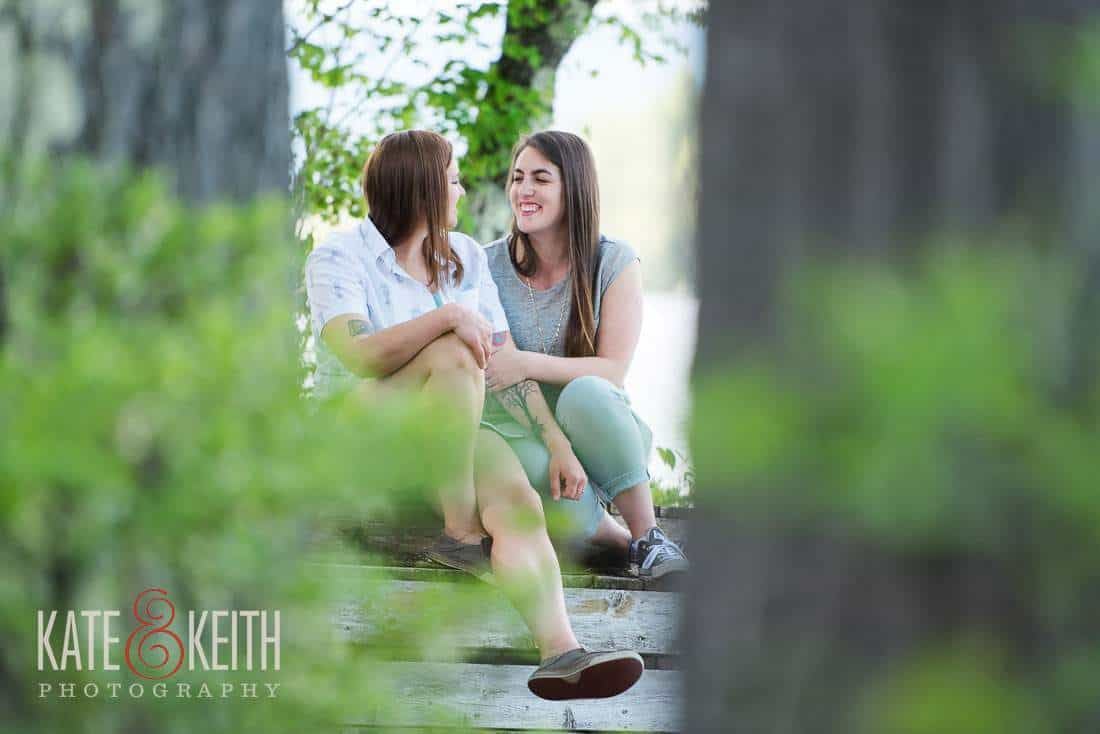 Outdoor NH Lesbian Engagement Photos