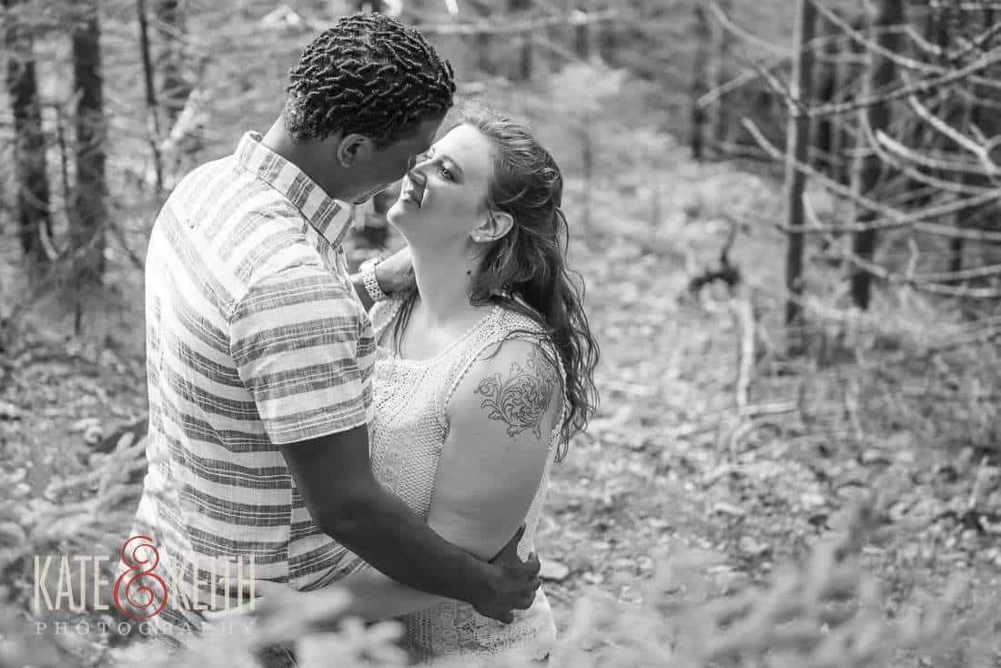 Engagement photos in Acadia Maine woods