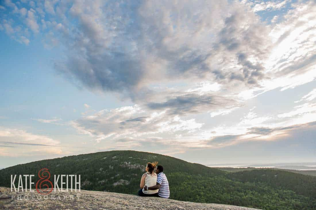 Engagement photos in Acadia Maine mountain