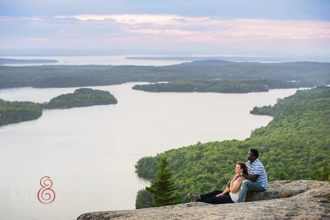 Engagement photos in Acadia Maine mountain lake