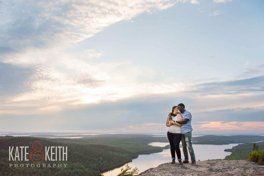 Mountain engagement photos Maine