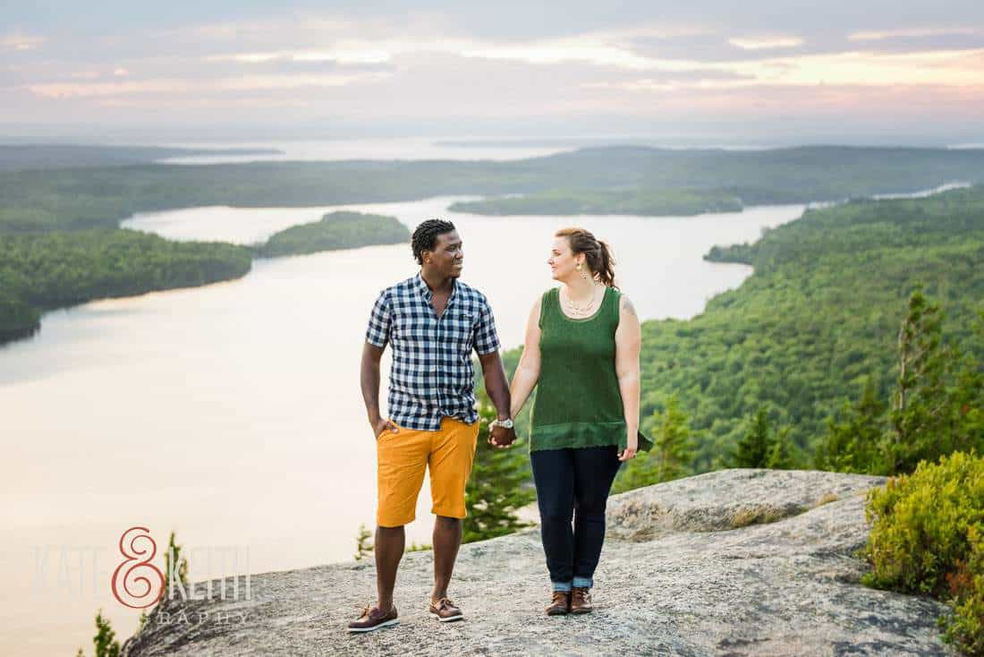 Sunset engagement photography Acadia