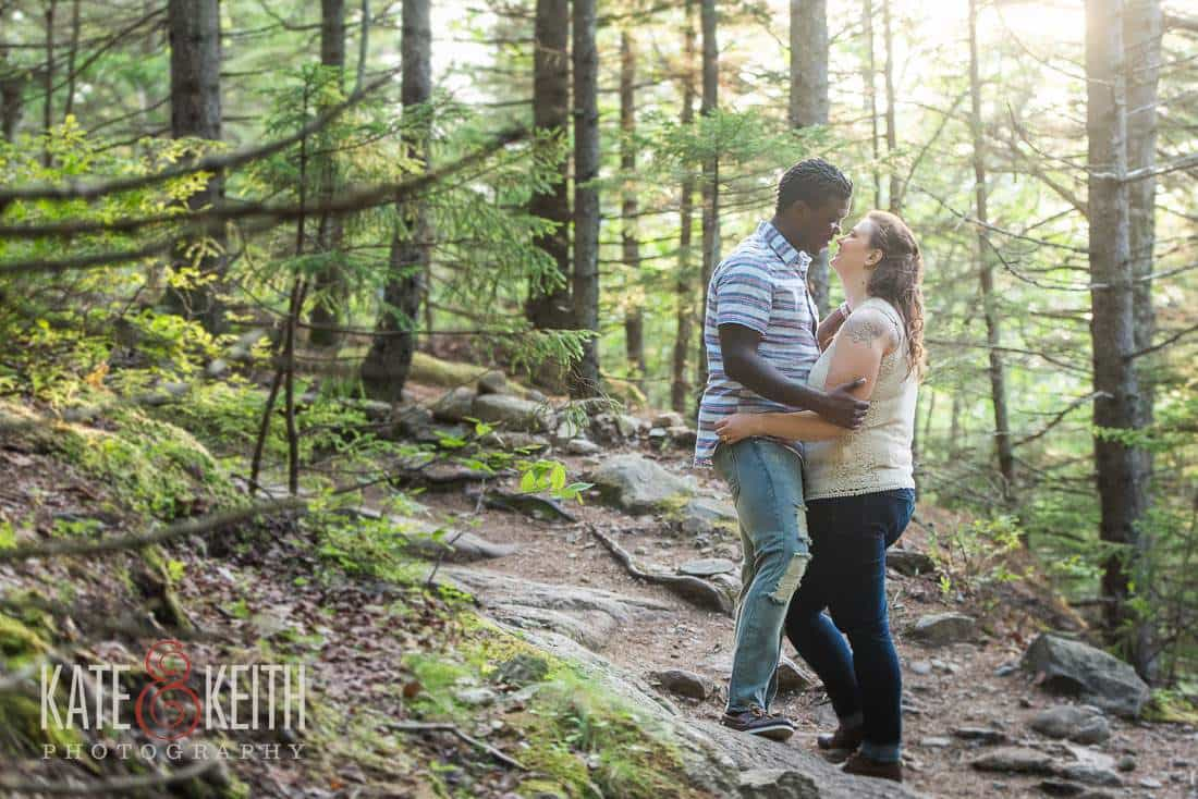 Engagement photos in Maine woods