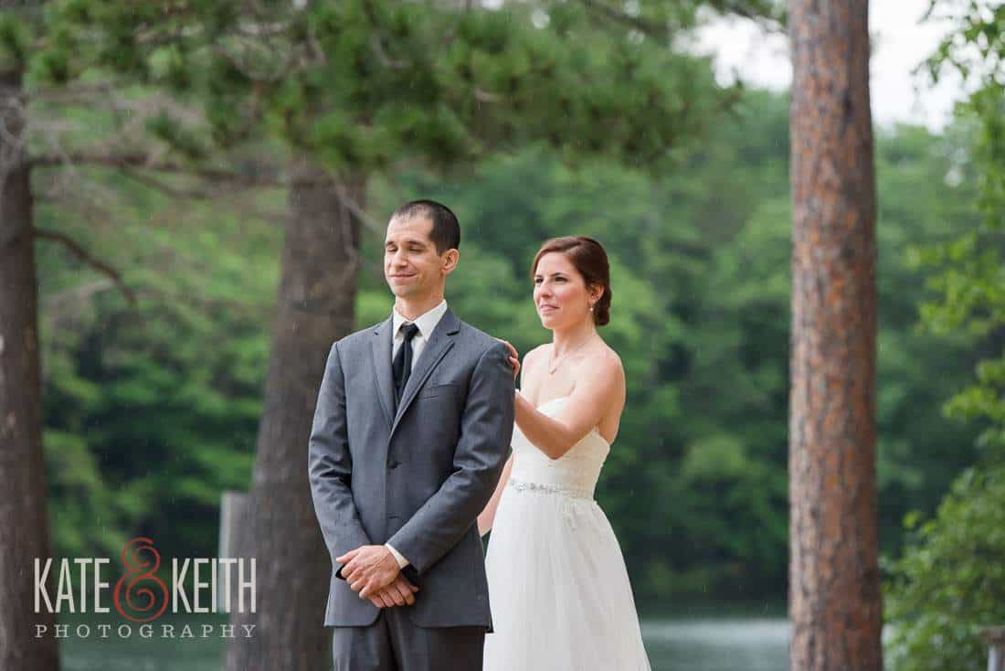 Squam Lakeside First Look Bride Groom