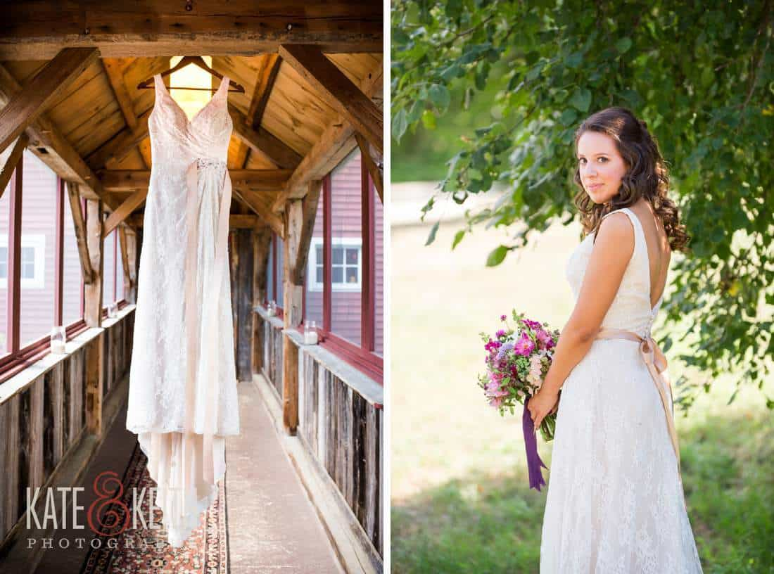Wedding dress in a barn