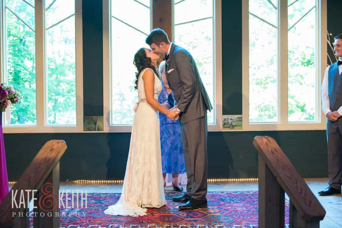 Stone Mountain Arts Center Wedding first kiss