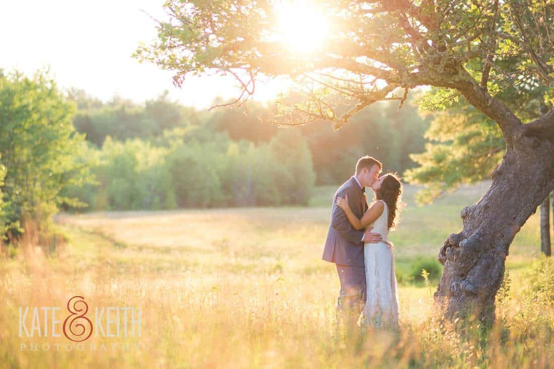 Bride and groom under a tree Maine field sunset wedding photography