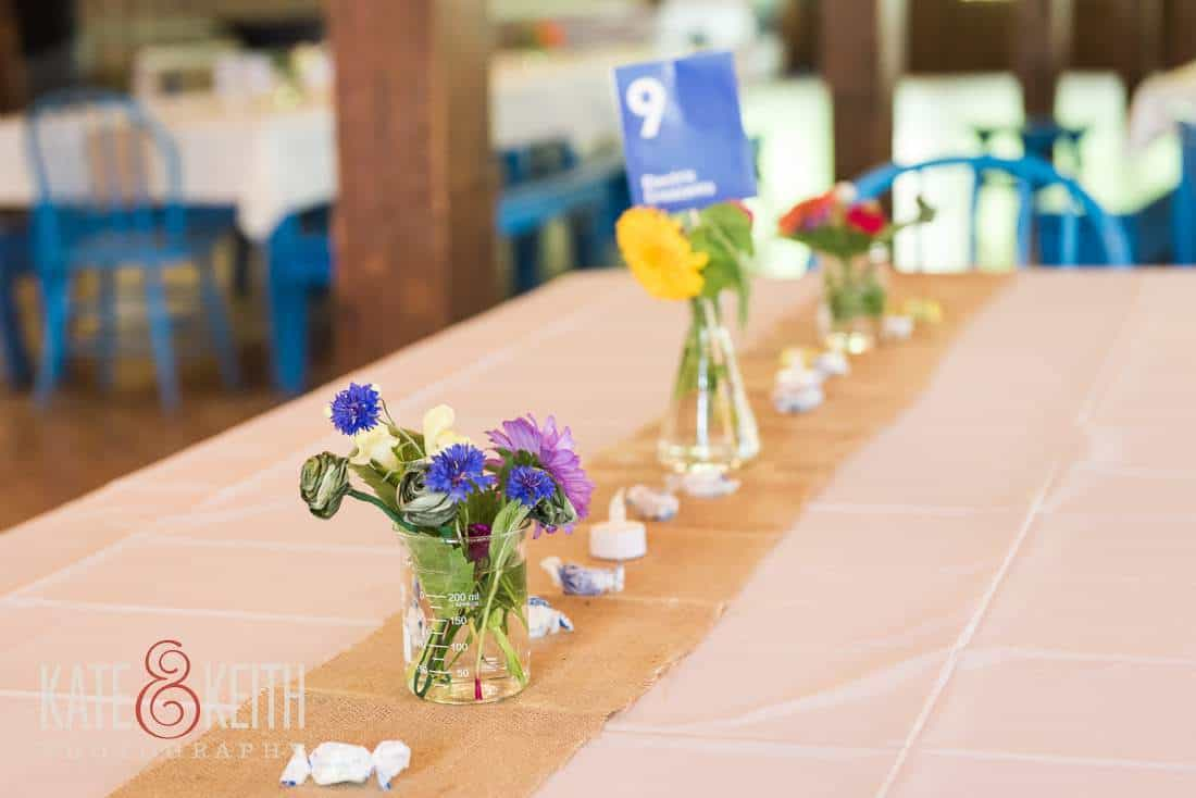 Camp wedding table decorations