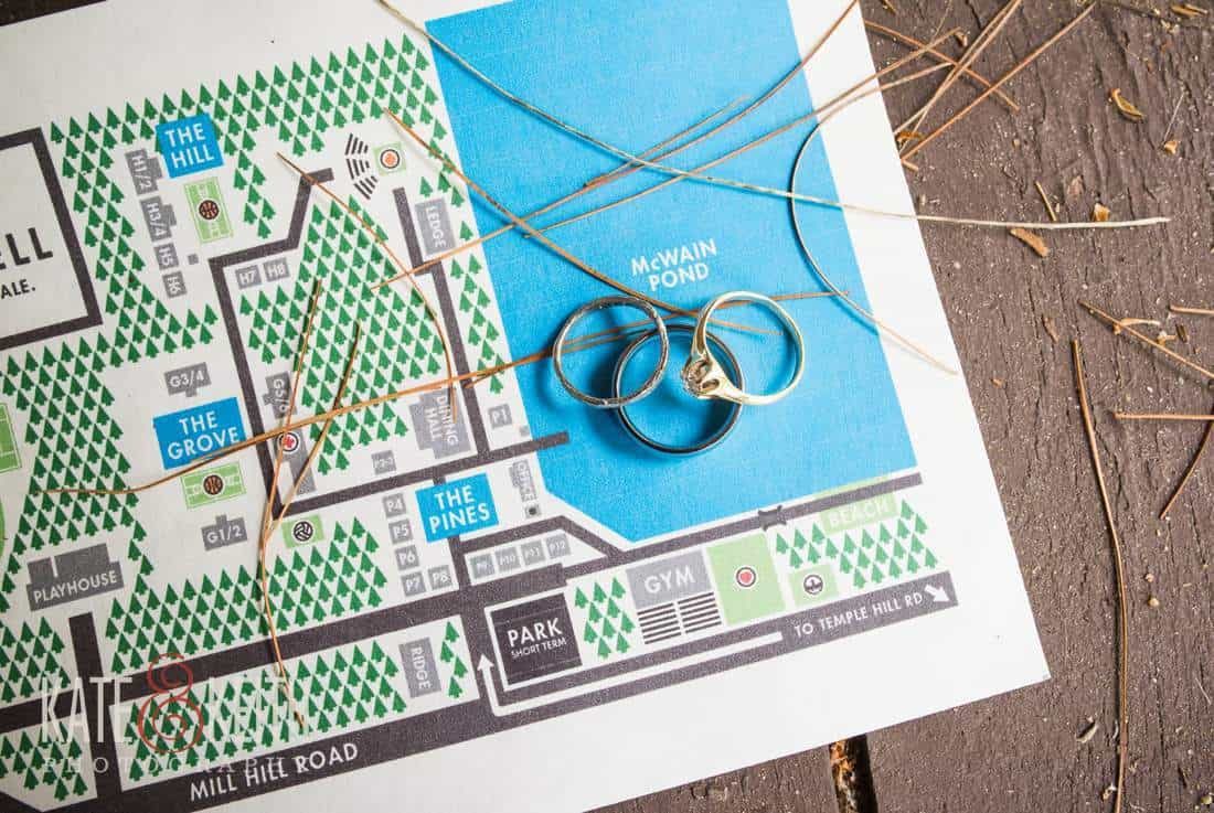 Camp map wedding rings