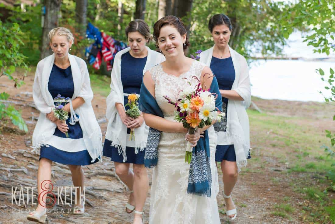 solid blue Bridesmaids dress camp wedding