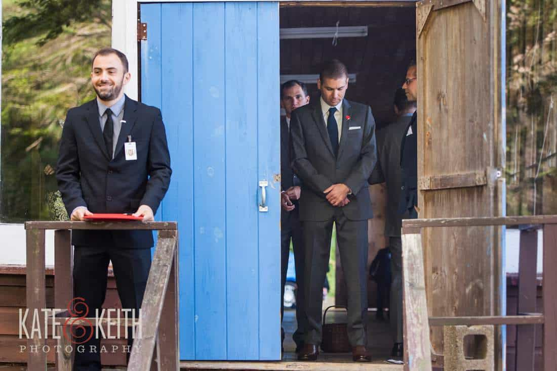 Rustic groom waiting for ceremony