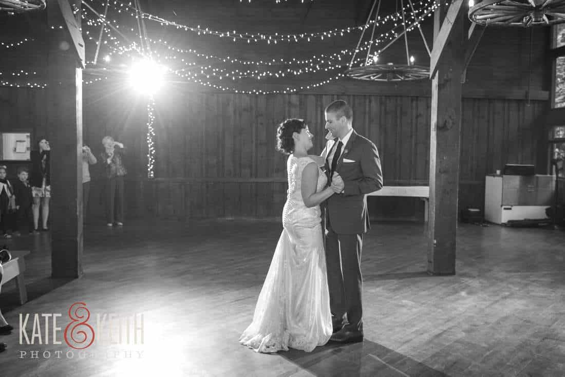 Camp wedding barn first dance