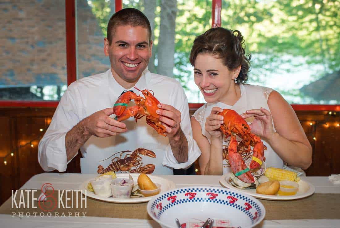 Maine wedding lobsters bride groom dinner