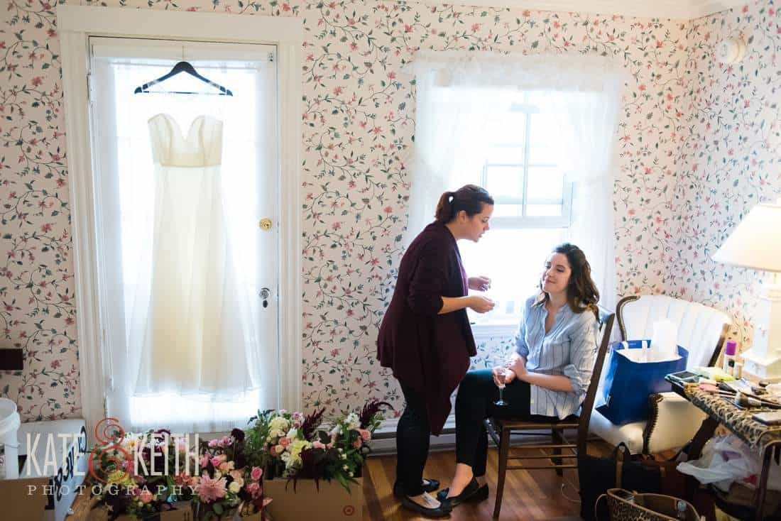 Bride getting ready at the Colony Hotel in Maine