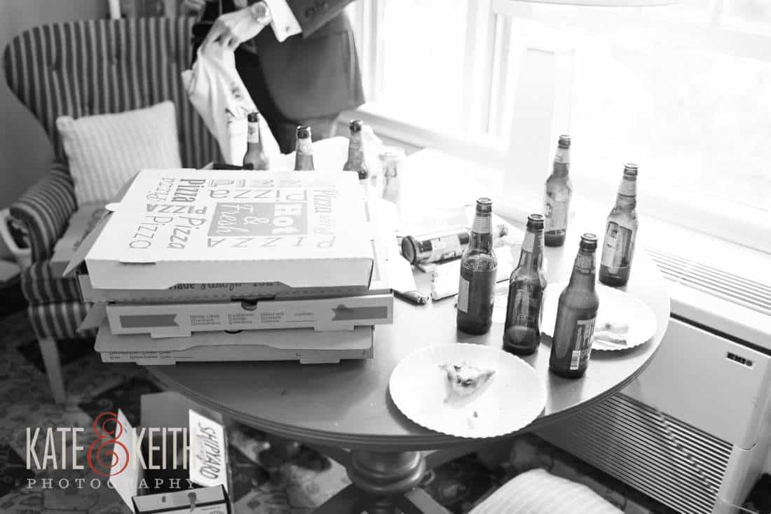 Wedding pizza and beer