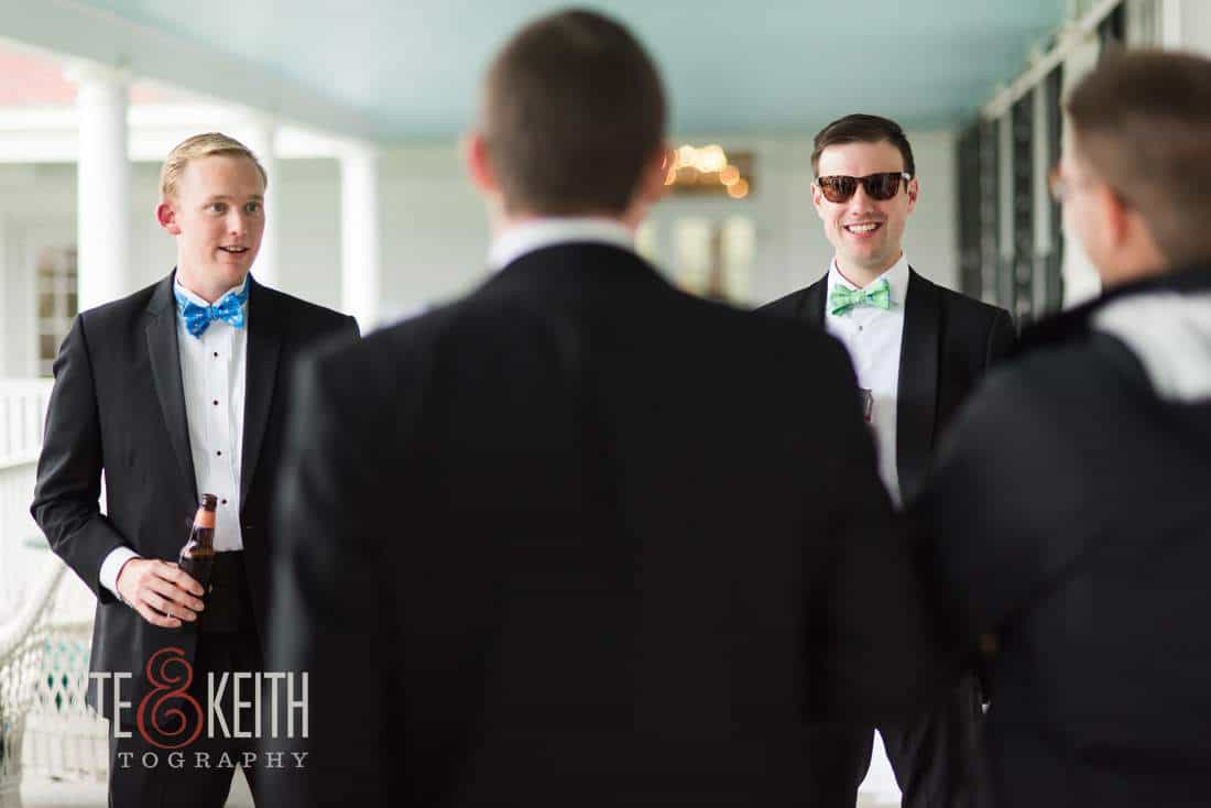 Formal groom in sunglasses