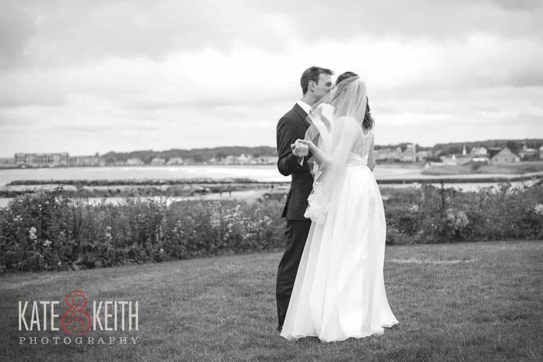 Black and white bride and groom portrait Maine Seacoast