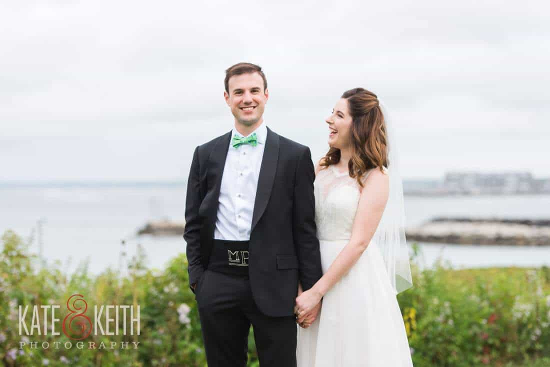 Bride and Groom Maine coastal wedding